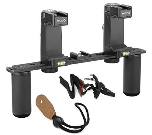 Livestream Android for Filmmaking Movo PR2-CREATOR Smartphone Dual-Grip Handle Video Rig with Shotgun Mic and 2 LED Lights Compatible with iPhone Vlogging Samsung Journalism YouTube Equipment